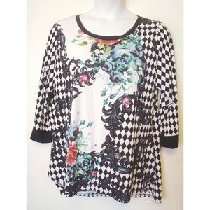 Investments Black White Rose Harlequin Shirt 1X EC